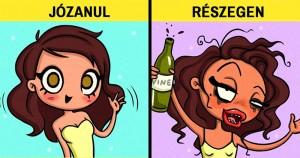 10 illusztráció, ami halálpontos képet ad arról, hogyan viselkedünk alkohol hatása alatt