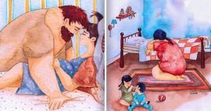 Egy művész családi illusztrációkat készít, hogy megmutassa, milyen is az igazi boldogság